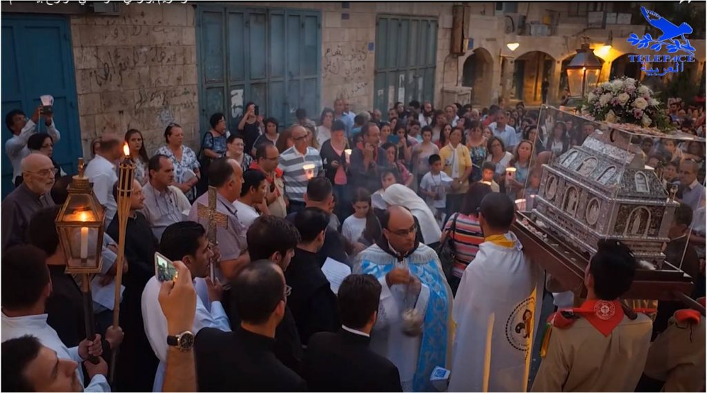 Feast and procession of the relics of Saint Mary of Jesus Crucified on the Palestine Streets.